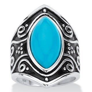 Marquise-Cut Simulated Blue Turquoise Boho Scroll Cocktail Ring in Antiqued Sterling Silver Bold Fashion