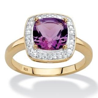1.82 TCW Genuine Cushion-Cut Purple Amethyst and Diamond Accent Pave-Style Halo Ring in 14k Yellow G