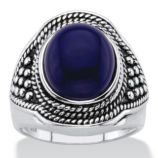Oval-Cut Simulated Blue Lapis Cabochon Boho Beaded Cocktail Ring in Antiqued Sterling Silver Bold Fashion