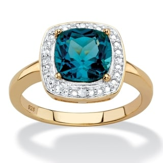 2.62 TCW Genuine Cushion-Cut London Blue Topaz and Diamond Accent Pave-Style Halo Ring in 14k Yellow
