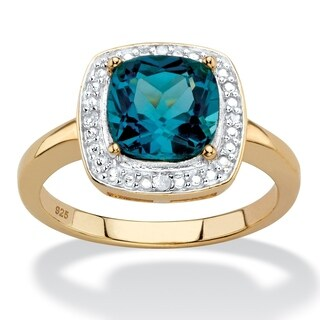 14K Yellow Gold over Silver London Blue Topaz and Diamond Accent Ring