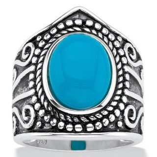 Oval-Cut Simulated Blue Turquoise Cabochon Boho Beaded Cocktail Ring in Antiqued Sterling Silver Bold Fashion