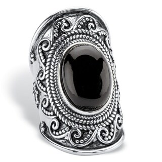 Oval-Cut Simulated Black Onyx Cabochon Boho Beaded Wave Cocktail Ring in Antiqued Sterling Silver Bold Fashion
