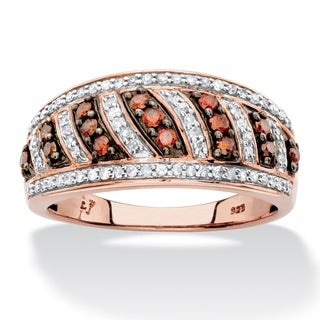 1/2 TCW Round Red and White Diamond Diagonal Row Ring Band in Brown and Rose Gold over Sterling