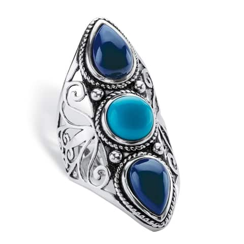 Round and Pear-Cut Simulated Turquoise and Blue Lapis Boho Scroll Cocktail Ring in Antiqued Sterling Bold Fashion
