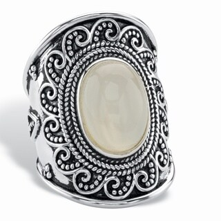 Oval-Cut Simulated Moonstone Cabochon Boho Beaded Wave Cocktail Ring in Antiqued Sterling Silver Bold Fashion