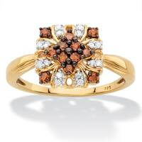 1/3 TCW Red and White Diamond Vintage-Inspired Cocktail Ring in Yellow Gold over Silver