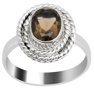 Orchid Jewelry 1 1/4 Carat Smoky Quartz Silver Overlay Ring