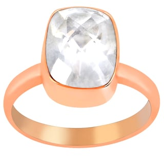 Orchid Jewelry 2 6/7 Carat Rose Quartz Pink Gold Overlay Ring