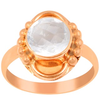 Orchid Jewelry 1 2/3 Carat Rose Quartz Pink Gold Overlay Ring