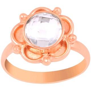 Orchid Jewelry 1 2/3 Carat Rose Quartz Pink Gold Overlay Gemstone Ring