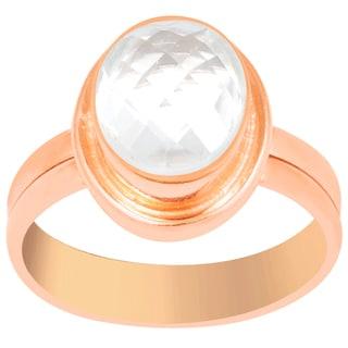 Orchid Jewelry 2 1/5 Carat Rose Quartz Pink Gold Overlay Gemstone Ring