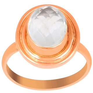 Orchid Jewelry 2 1/5 Carat Rose Quartz Pink Gold Overlay Fashion Ring