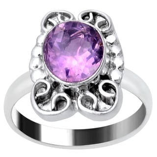 Orchid Jewelry 1 1/3 Carat Amethyst Silver Overlay Gemstone Ring