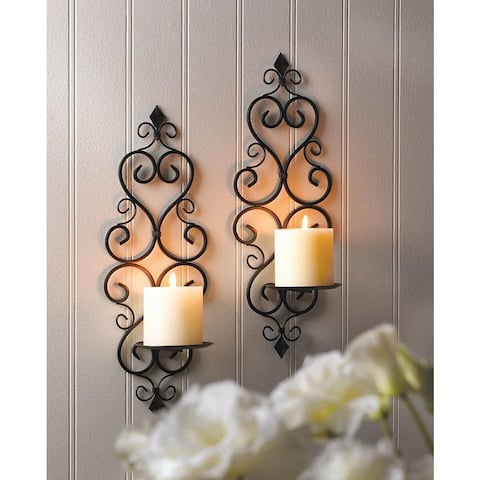 Claudia Scrolling Wall Candle Holder (Set of 2)