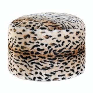 Momento Fuzzy Leopard Ottoman Pouf