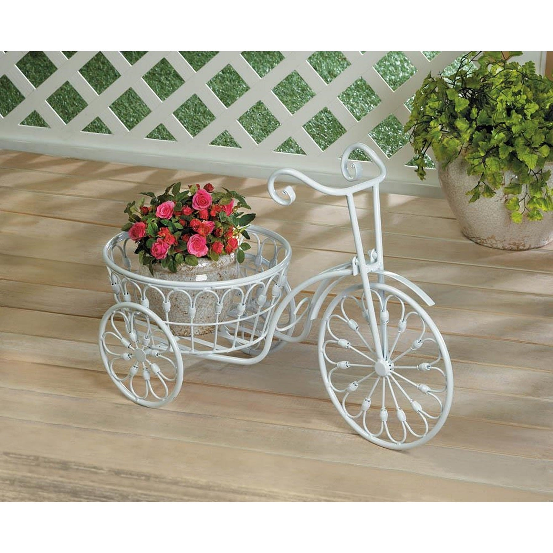 Vintage Style Bicycle Flower Holder, White (Iron) #BSD-62...