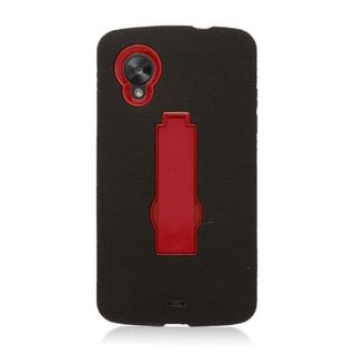 Insten Black/ Red Symbiosis Soft Silicone/ PC Rubber Case Cover with Stand For LG Google Nexus 5 D820