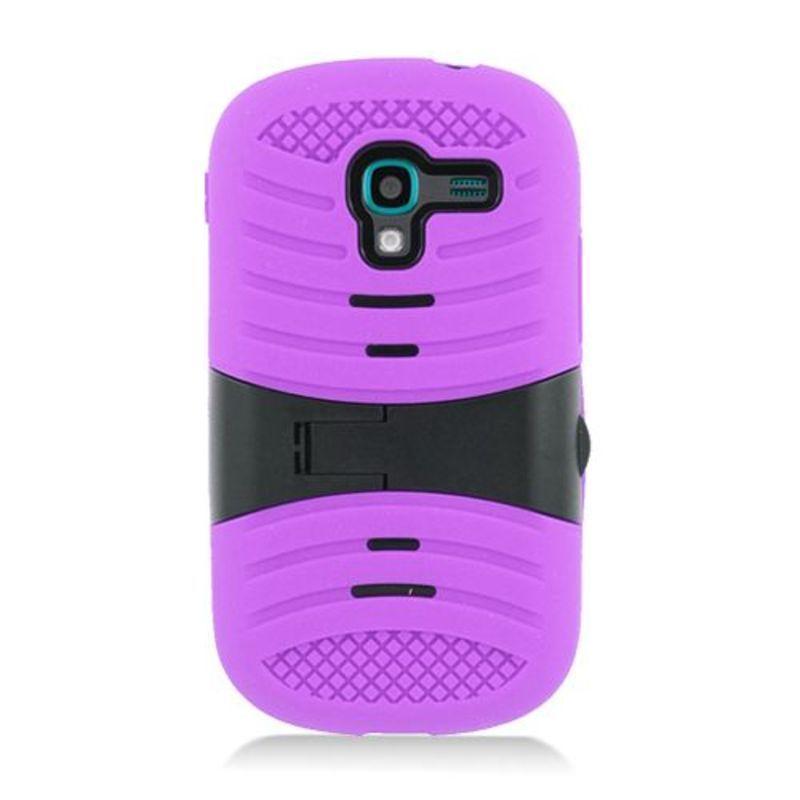 Insten Purple/ Black Wave Symbiosis Soft Silicone/ PC Rub...