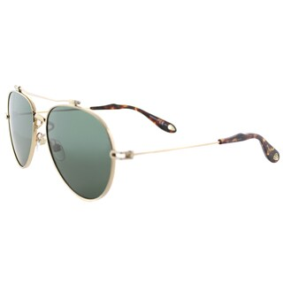 Givenchy GV 7057 Nude J5G QT Gold Metal Aviator Sunglasses Green Lens