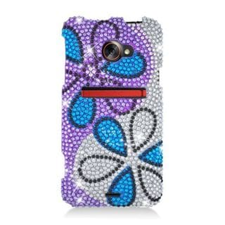 Insten Purple/ Blue Flowers Hard Snap-on Diamond Bling Case Cover For HTC EVO 4G LTE