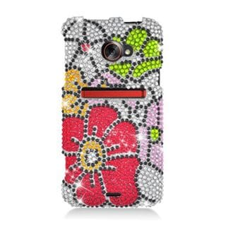 Insten Red/ Green Flowers Hard Snap-on Rhinestone Bling Case Cover For HTC EVO 4G LTE