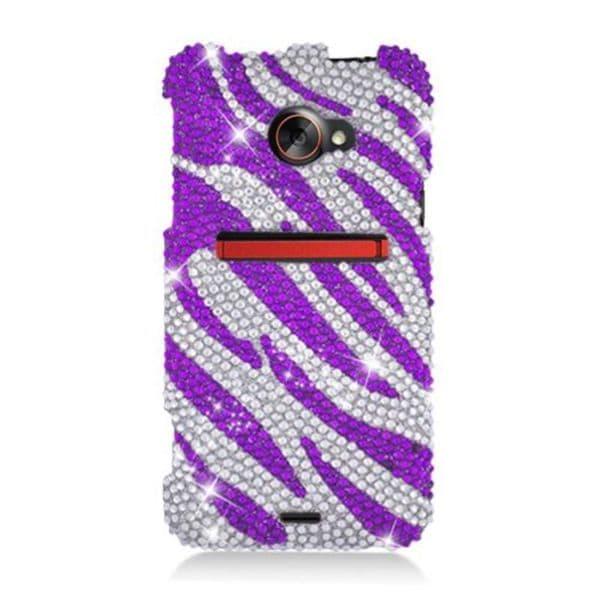 Insten Purple/ Silver Zebra Hard Snap-on Rhinestone Bling Case Cover For HTC EVO 4G LTE