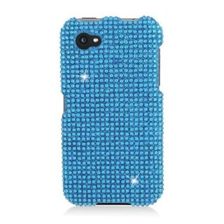 Insten Blue Hard Snap-on Diamond Bling Case Cover For HTC First