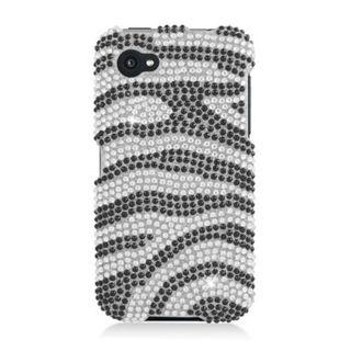 Insten Black/ Silver Zebra Hard Snap-on Diamond Bling Case Cover For HTC First