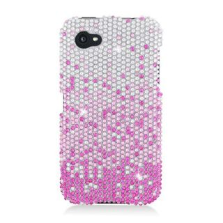 Insten Pink/ Silver Waterfall Hard Snap-on Diamond Bling Case Cover For HTC First