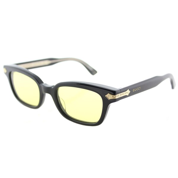 0d5e8c5a0 Shop Gucci GG 0086S 001 Black Plastic Rectangle Sunglasses Yellow AR ...