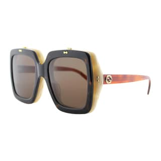 Gucci GG 0088S 001 Flip Up Havana Beige Plastic Square Sunglasses Brown Lens