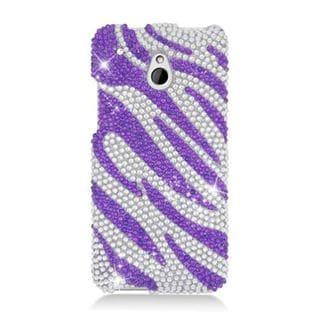 Insten Purple/ Silver Zebra Hard Snap-on Diamond Bling Case Cover For HTC One Mini