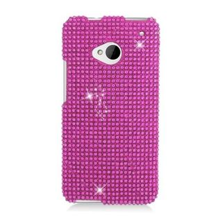 Insten Hot Pink Hard Snap-on Diamond Bling Case Cover For HTC One M7