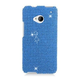 Insten Blue Hard Snap-on Diamond Bling Case Cover For HTC One M7