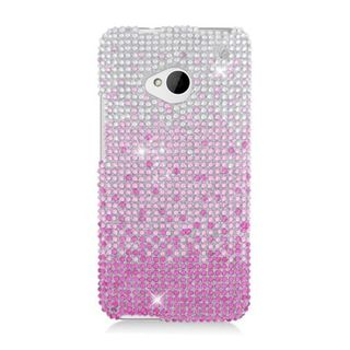 Insten Pink/ Silver Waterfall Hard Snap-on Diamond Bling Case Cover For HTC One M7