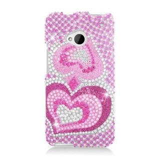 Insten Hot Pink Hearts Hard Snap-on Diamond Bling Case Cover For HTC One M7