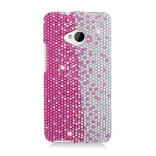 Insten Hot Pink/ Silver Hard Snap-on Diamond Bling Case Cover For HTC One M7