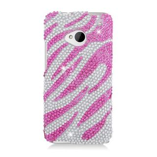 Insten Hot Pink/ Silver Zebra Hard Snap-on Diamond Bling Case Cover For HTC One M7