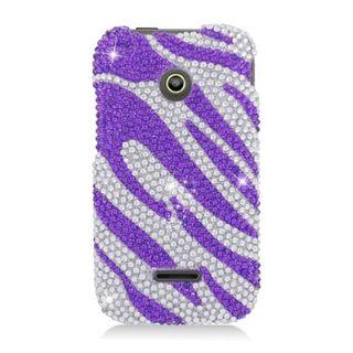 Insten Purple/ Silver Zebra Hard Snap-on Diamond Bling Case Cover For Huawei Prism II U8686