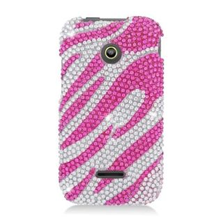 Insten Hot Pink/ Silver Zebra Hard Snap-on Diamond Bling Case Cover For Huawei Prism II U8686
