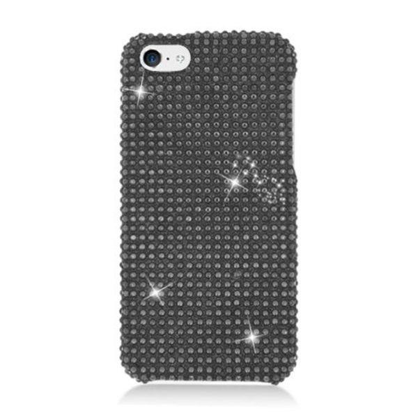 Insten Black Hard Snap-on Diamond Bling Case Cover For Apple iPhone 5C