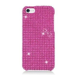 Insten Hot Pink Hard Snap-on Rhinestone Bling Case Cover For Apple iPhone 5C