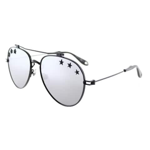 Givenchy GV 7057 Stars 807 DC Black Metal Aviator Sunglasses Grey Lens