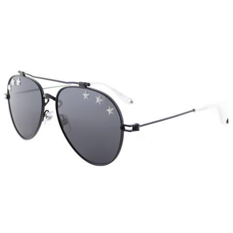 Givenchy GV 7057 Stars 807 IR Black Metal Aviator Sunglasses Silver Mirror Lens