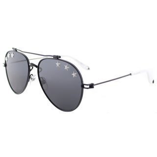 Givenchy GV 7057 Stars 807 IR Black Metal Aviator Sunglasses Silver Mirror Lens