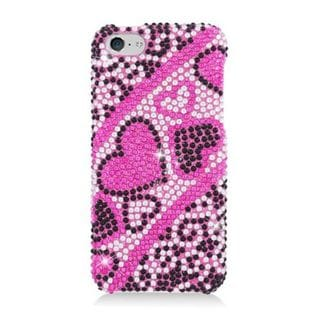 Insten Hot Pink Hearts Hard Snap-on Diamond Bling Case Cover For Apple iPhone 5C
