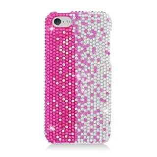 Insten Hot Pink/ Silver Hard Snap-on Diamond Bling Case Cover For Apple iPhone 5C