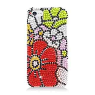 Insten Red/ Green Flowers Hard Snap-on Diamond Bling Case Cover For Apple iPhone 5C