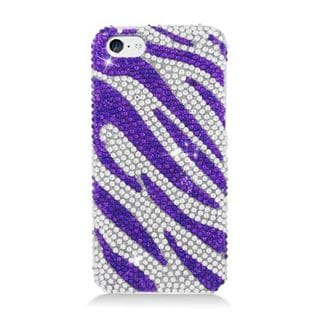 Insten Purple/ Silver Zebra Hard Snap-on Diamond Bling Case Cover For Apple iPhone 5C